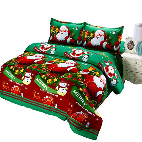 Rhap Duvet Cover King Size, Christmas Decor Quilt Cover King Size, Green Santa Claus King Bedspread Bedding Set -