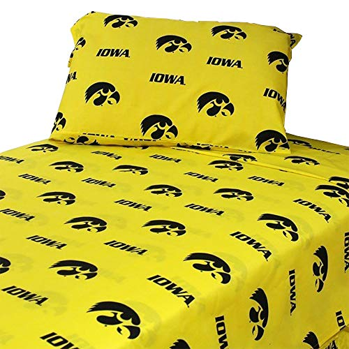 College Covers Iowa Hawkeyes Printed Sheet Set - King - Solid