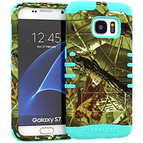 Galaxy S7 Case, Hybrid Heavy Duty Rugged Armor Kickstand Shock Proof Impact Resistant Grip Cover for Samsung Galaxy S7 (E Camo / B Teal) Sales