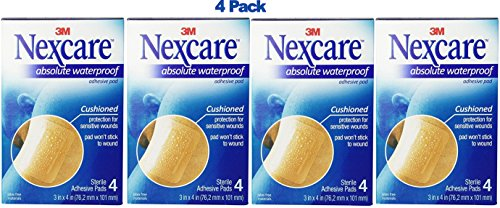 Nexcare Absolute Waterproof Adhesive Gauze Pad, 3 Inches X 4 Inches (Pack of 4)