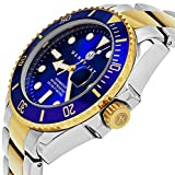 """Henry Jay Mens 23K Gold Plated Two Tone Stainless Steel """"Specialty Aquamaster"""" Professional Dive Watch with Date (Great Fathers Day Gift)"""