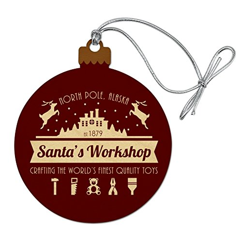 (GRAPHICS & MORE Santa's Workshop Logo Christmas Toys North Pole Alaska Wood Christmas Tree Holiday Ornament)