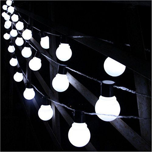 Peaubogo 8.35ft/2.5M 10LED Solar String Light Bulbs, Garden Solar Fairy Lights Patio Lights Outdoor Xmas Fairy Decorative Lamp White by Peaubogo