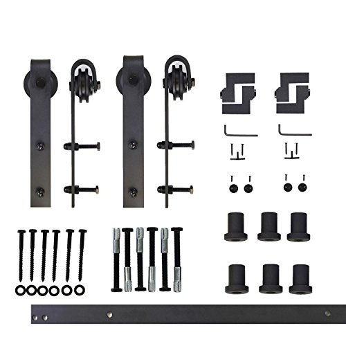 Vancleef 8FT Double Door Kit Sliding Barn Door Hardware, Classic Design, Industrial Strength, Black Rustic, Interior and Exterior Use, With Quiet Glide Roller and Descriptive Installation Manual by Vancleef Hardware