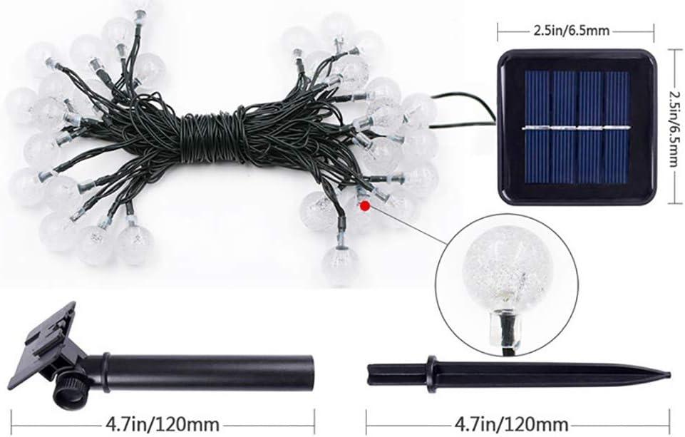 Solar Lichterkette Aussen, 6.5M 30 LED Solar Beleuchtung Lichterketten Kristall Kugeln mit Fernbedienung|Warmweiß,Wasserdicht, Deko für Terrasse, Hochzeiten, Partys Pink