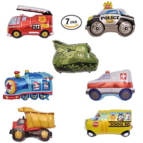 Fire Truck Birthday Party Balloons - 7 Set Boys Decorations Kit of Large Firetruck, Police Car, Tank, Dump Truck, School Bus, Train, and Ambulance   Great for Cute Kids Helium Foil Balloon Parties ()