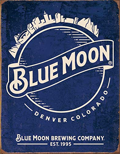 (Blue Moon Beer Skyline Metal Tin Vintage, Retro Tin Sign, 12.5 X 16 Inches by Desperate Ent. in USA)