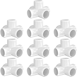 letsFix 5-Way 1/2 inch PVC Fitting, PVC Elbow Fittings PVC Pipe Connectors - Build Heavy Duty Furniture Grade for 1/2 inch PVC Pipe, White [Pack of 10]