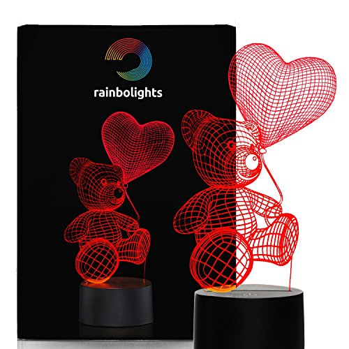 Price comparison product image I LOVE YOU Teddy Bear Night Light with Balloon 7 Color LED Does Not Get Hot By rainbolights Ideal as a sympathy gift or a romantic gift.