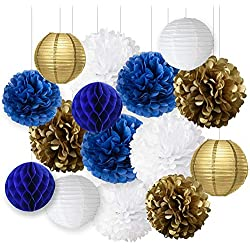 Wcaro Mixed Navy Blue White Gold Party Tissue Paper Pom Poms Hanging Paper Lantern Ball Paper Honeycomb Nautical Navy Themed Party Decoration Wedding Birthday Girl Baby Shower Nursery Decoration