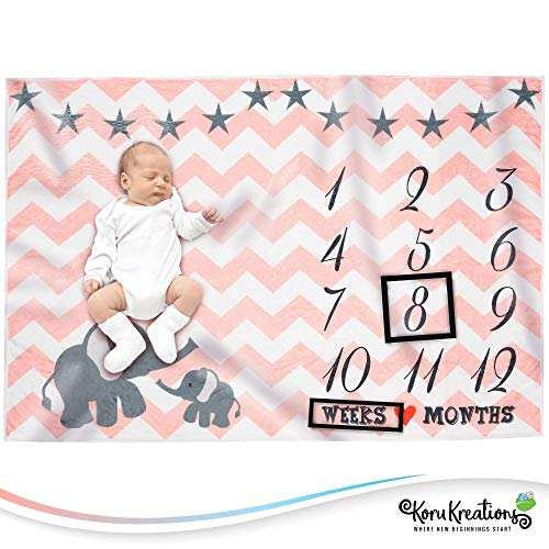 Baby Monthly Milestone Blanket for Girls | Perfect Baby Shower Gifts | 100% Quality Soft Fleece Baby Blanket | Large Personalized Elephant Background Newborn Photography Props | (Pink) -