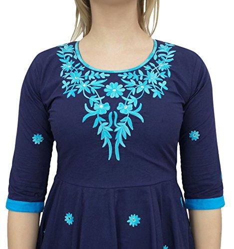 Tunique Coton Anarkali Bleu Broderie De Marine Kurti Bimba Design Femmes