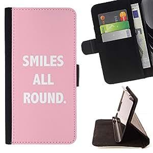 For Apple (4.7 inches!!!) iPhone 6 / 6S Case , Sonrisas All Round Texto Cita Rosa Blanco- la tarjeta de Crédito Slots PU Funda de cuero Monedero caso cubierta de piel
