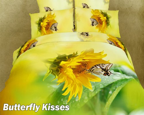 Butterfly Kisses - 6 Pc. Full/Queen Duvet Cover Bedding Set (1 Duvet Cover, 1 Fitted Bed Sheet, 2 Shams, 2 Pillow Cases) - Includes a Gift Box and Gift Bag - SAVE BIG ON BUNDLING!
