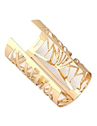 Fenteer Gold Wide Cuff Bangle Hollow Engraved Flower Bracelet Bohemian Lady Jewelry