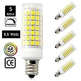 75 watt ceiling fan bulbs - Led E12 led light bulb 110V,120V,130V, Daylight White 8.5W Led E12 Candelabra Screw base, Xenon JD type led halogen bulb replacement 75W or 100W ceiling fan light bulbs with 850lm-5packs
