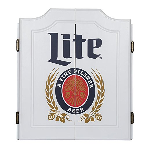Officially Licensed Miller Lite Design Deluxe Wood Cabinet Complete Dart Set by TMG