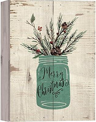 Merry Christmas Holly Mason Jar Whitewash 10 x 7 madera en caja ...