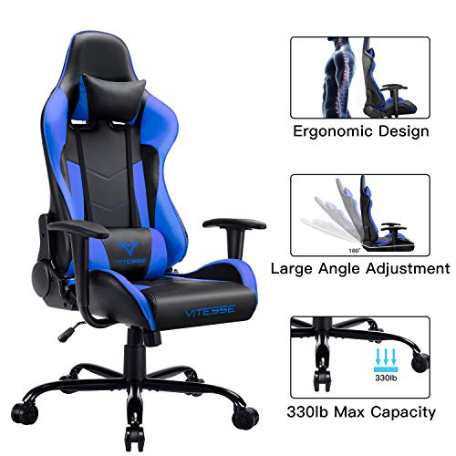 VIT Gaming Chair Racing Style High-Back PC Chair Ergonomic Office Desk Chair Swivel E-Sports Leather Computer Chair with Lumbar Support and Headrest Blue