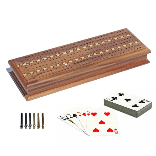 Wood Cribbage Board - WE Games Cabinet Cribbage Set - Solid Walnut Wood with Inlay Sprint 3 Track Board with Metal Pegs & 2 Decks of Cards