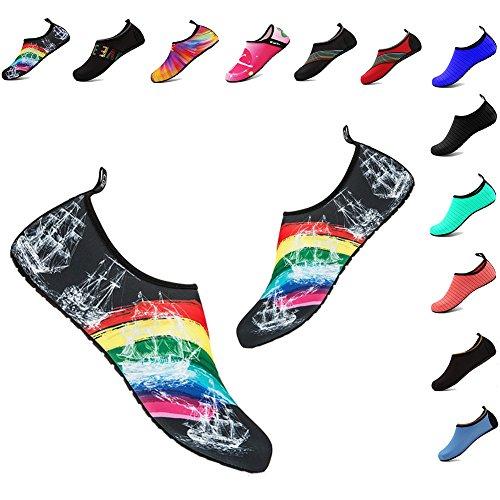 YALOX Men and Women Slip-On Water Shoes Lightweight Barefoot Quick-Dry Aqua Yoga Socks For Outdoor Beach Sports(Rainbow,36/37EU)