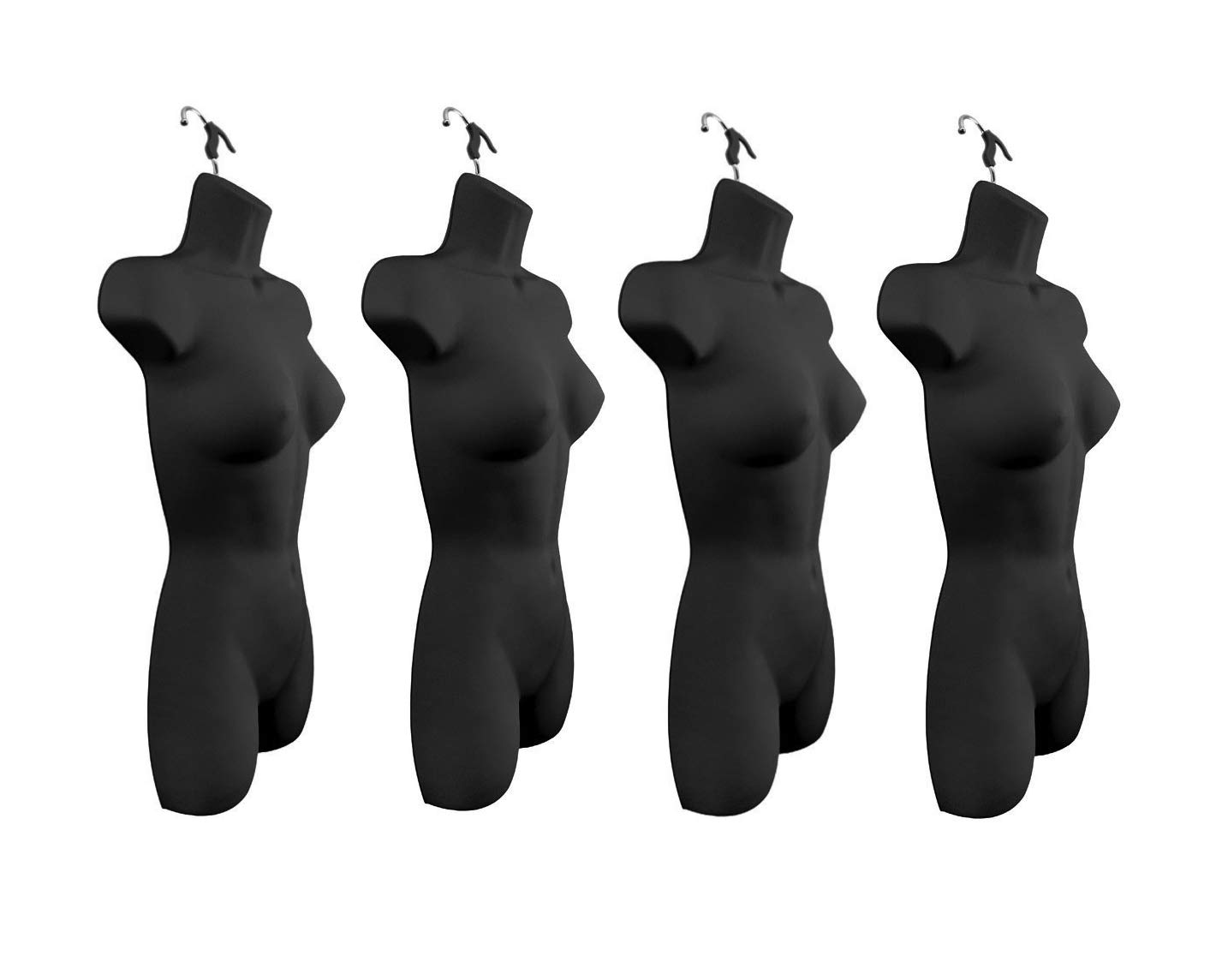 Only Hangers Set of Four Women's Torso Female Plastic Hanging Mannequin Body Forms in Black - Pack of (4) #8081BLACK (PACK OF 4)