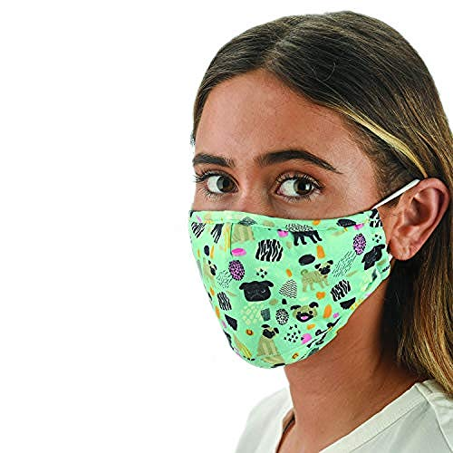 Snoozies 3-Layer Washable Face Mask w Filters & Nose Bridge - Dogs