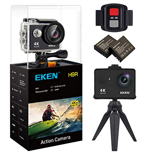 EKEN H9R Action Camera 4K WiFi Waterproof Sports Camera Full HD 4K30 2.7K30 1080p60 720p120 Video Camera 20MP Photo and 170 Wide Angle Lens Includes 11 Mountings Kit 2 Batteries Black