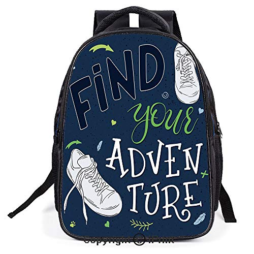 Casual Fashion School Backpack,Youthful Design Find Your Adventure Quote Forest Elements and Sneakers Decorative,L11.8xW6.3xH15.7inch