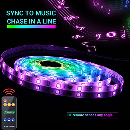 Led Strip Lights Sync to Music, 5M/16.54ft Chase Effect Led Lights Kit 5050 RGB Led Rope Lights Waterproof Led Lights Strip with 360 Degree Signals Accept RF Remote 12V AC Adapter Powered (Led Lights Line)