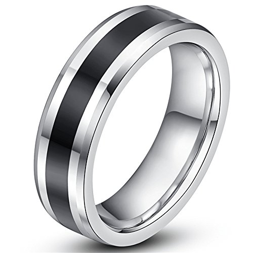 6 Mm Channel Set (Mens Womens 6mm Tungsten Carbide Channel Set Black Ring Wedding Engagement White Band For Him)