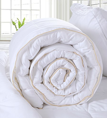 Luxury Queen Size White Down Alternative Quilted Comforter Duvet Insert with Corner Tabs/ Loops for...