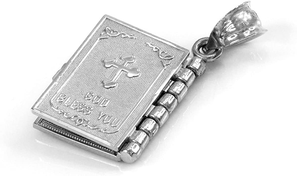 Religious Jewelry by FDJ Sterling Silver 3D Santa Biblia Book w//Lords Prayer in Spanish Pendant Necklace