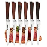 Tyrellex Steak Knives | Premium 6-pc Steak Knife Set with Quality Red Pakkawood Handles in a Wooden Gift Box