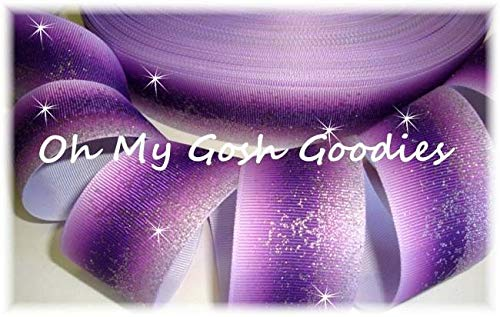 Ribbon Art Craft Perfect Solution for Any Project Decoration 1 Yard 1.5 Frosted Glitter Purple Ombre Cheer Grosgrain Ribbon for TIC TOC HAIRBOW Bow