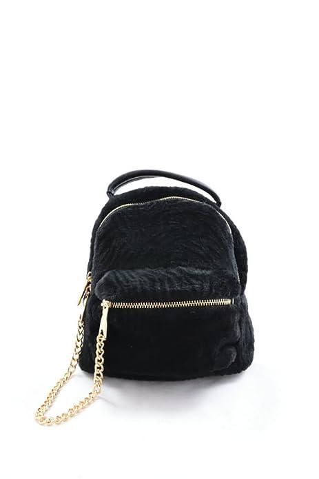 Grupo Legatec Mochila negra de pelo, con cadena dorada: Amazon.es: Zapatos y complementos