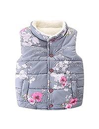 LittleSpring Little Girls' Vest Flower Buttons
