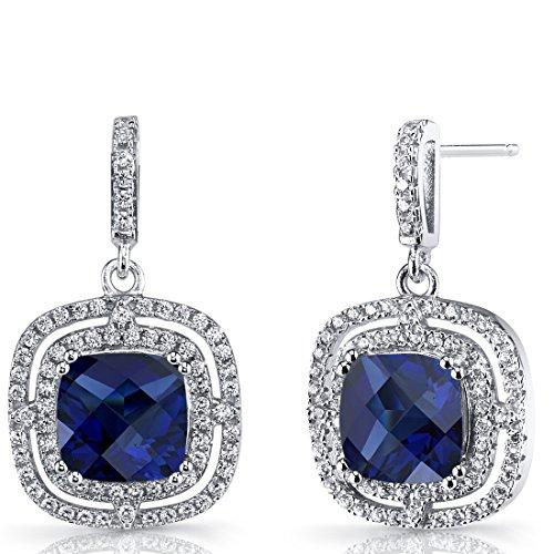 (Created Blue Sapphire Cushion Cut Dangle Drop Earrings Sterling Silver 6 Carats)