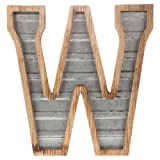 XXL 14'' Galvanized Metal and Wood Industrial Home and Business Wall Letters Monogram Letter W