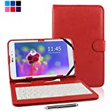 """Kamor® 9.7"""" 9.7 Inch Universal PU Leather Stand Tablet Case with Keyboard + Micro USB Keyboard with Touch Screen Stylus Pen for 9.7 inch Android Tablet PC Samsung Galaxy Tab A 9.7 inch / Dragon Touch E97 / HP TouchPad / Lenovo Idea Tablet S2109 (Purple)"""