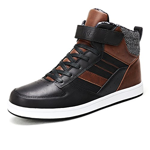Image of Littleplum AShion Men's Warm Leather Lace-Up Ankle Sneakers High Top Cotton Polyester Lining