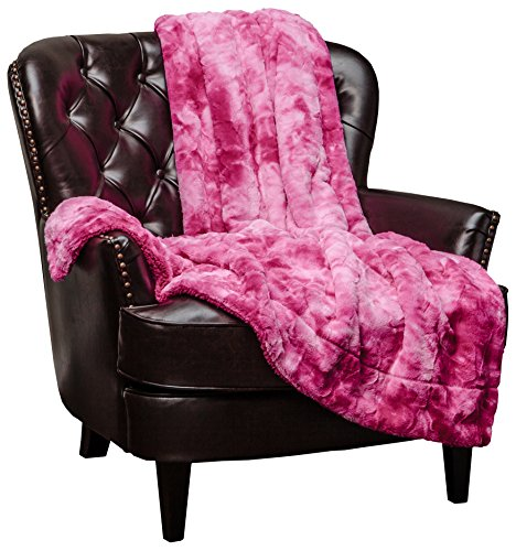 Chanasya Faux Fur Throw Blanket | Super Soft Fuzzy Light Weight Luxurious Cozy Warm Fluffy Plush Hypoallergenic Blanket for Bed Couch Chair Fall Winter Spring Living Room (50 x 65) - Pink