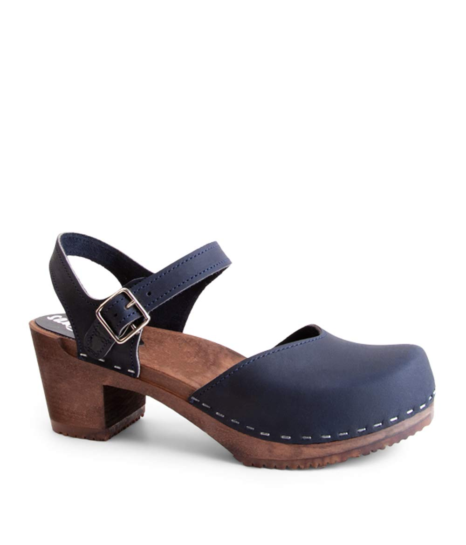 Sandgrens Swedish Wooden High Heel Clog Sandals for Women, US 7-7.5 | Victoria Navy DK, EU 38 by Sandgrens