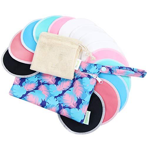 Bamboo Nursing Pads (14 Pack)+Laundry Bag & Travel Bag, 4.7 inch Option - Washable & Reusable Nursing Pads(Gentle, Large, Daytime Use)