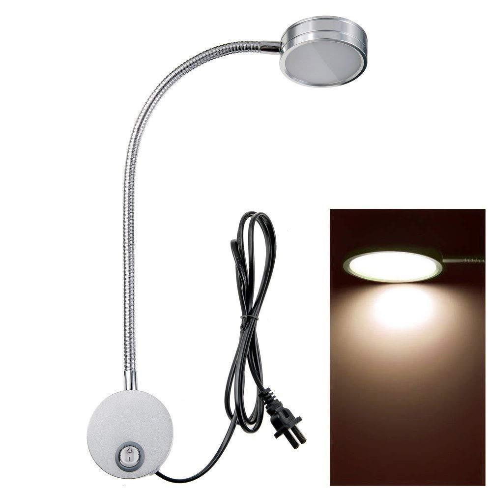 Wall Mounted Reading Light Lamp Flexible Gooseneck Task Light Headboard Reading Light for Bedside Reading Workbench Studio 5 Watts