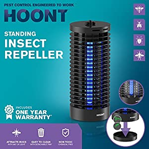 Hoont Portable Electric Indoor Outdoor Fly Zapper and Bug Zapper Trap Catcher Killer with UV – Protects 2,000 Sq. Ft. / Bug and Fly Killer, Insect Killer, Mosquito Killer –For Home, Travel, Patio, etc