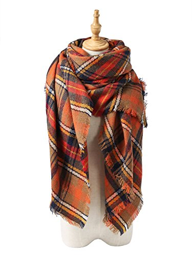 Spring fever Women's Oversized Stylish Blanket Scarves Wrap Shawl Warm Plaid J Orange