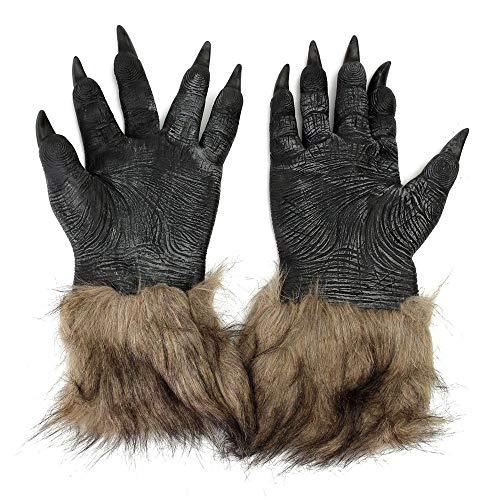 Halloween Werewolf Gloves Latex Furry Animal Hand Gloves Halloween Prop Black 3120cm -