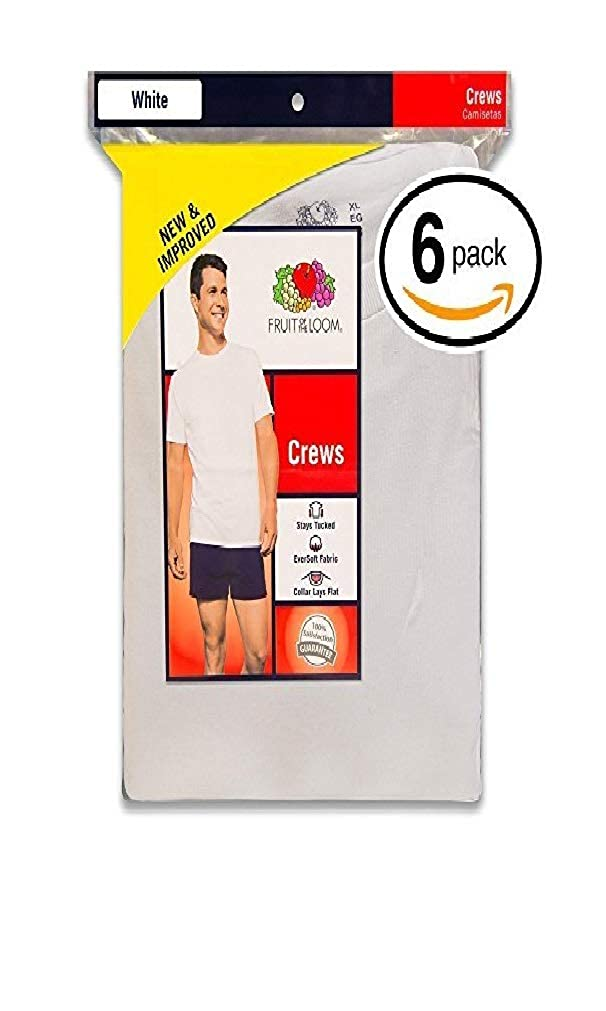 Pack of 6 SF45RP6 XX-Large Fruit of the Loom Mens Stay Tucked Crew T-Shirt White