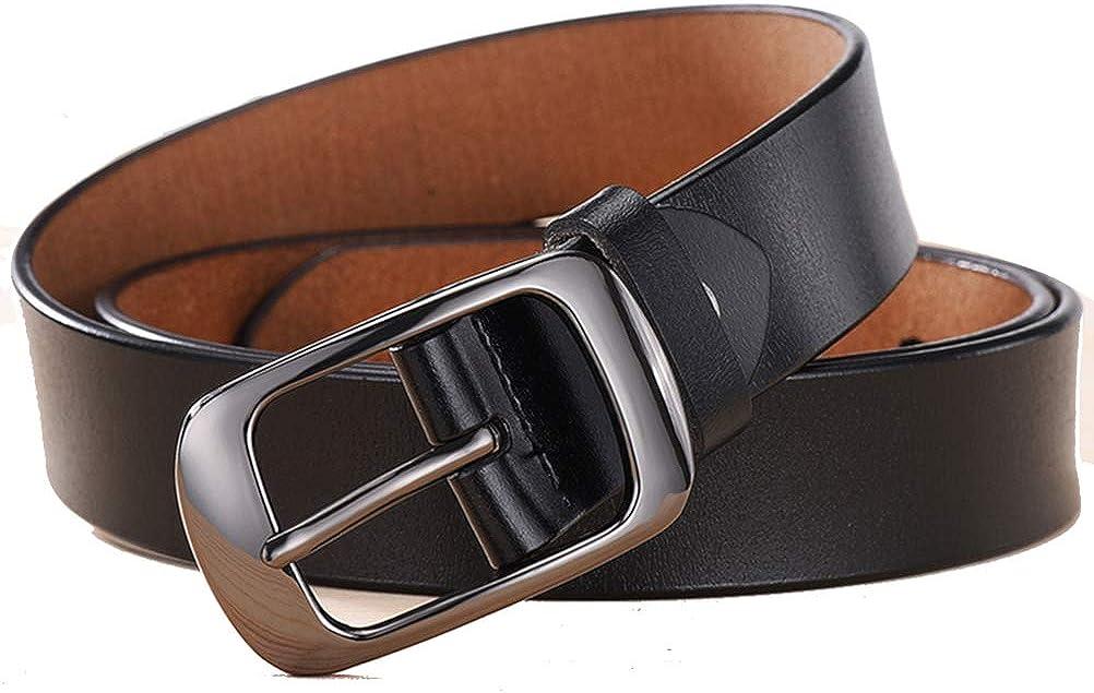 JUIOKK Women Leather Belt for Pants Dress Jeans with Alloy Buckle Waist Belt